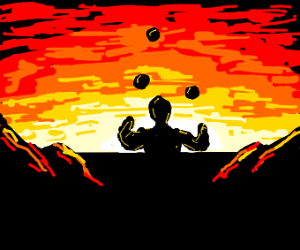Man juggling while staring at the sun