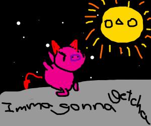 demon pig chases sun