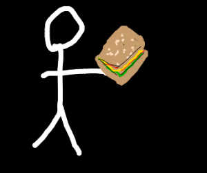 Guy walking in empty space with sandwich