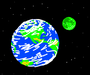 a blue sphere with a green sphere orbiting it