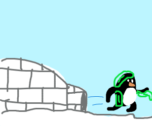 Penguin covered in goop runs away from igloo