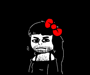 A man woman with long hair and a red bow