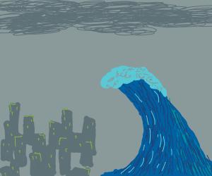 Tsunami over a city