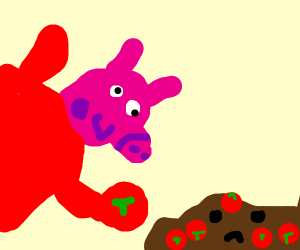 Peppa Pig steals tomato from living mud