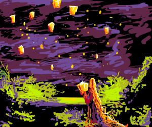 Rapunzel releasing lanterns into the sky