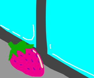 strawberry looking out a window