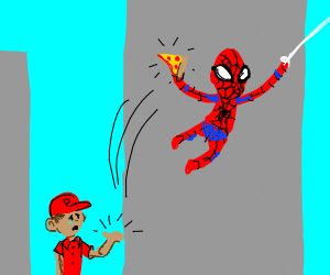 Spiderman stole that guy's pizza