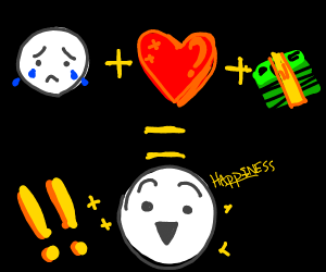 Sad man + love + Money = happy man