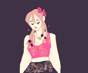 Cute girl dressed in flowers