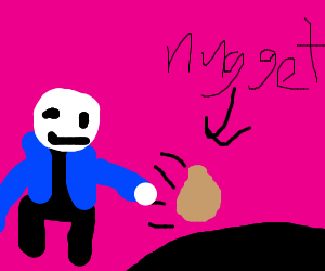 Sans pushes Nugget into the void.