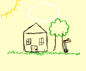 house with hanging tire