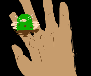 Green mole on someone's finger