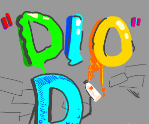 "Drawception D making ""Dio"" graffiti"