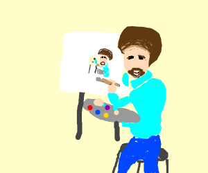 Bob Ross doing portraits