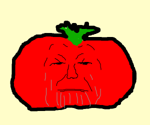 thanos is angry because he's a tomato now