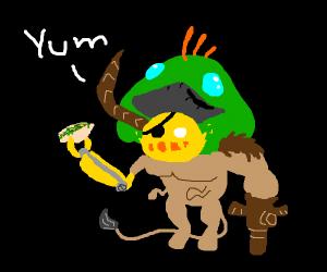 nightmare creature eats a taco