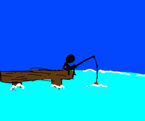 stickman fishing off a wharf