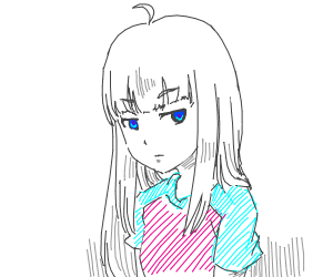 Blueye anime girl white hair with blue/pink t