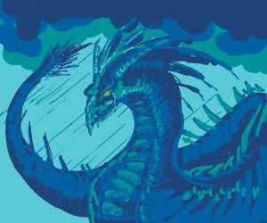 dragon depressed in rain