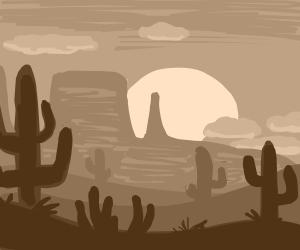 A desert at sunset