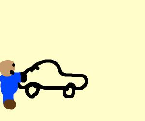 Janitor pushing a Car