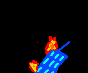 Buring Blue Building