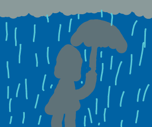 Girl with umbrella in storm
