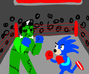 Frankenstein punched sonic box in background