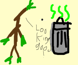 stickman complimenting a trash can