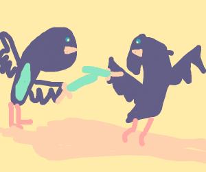 humanoid birds sword fight