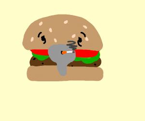 old man hamburger smoking