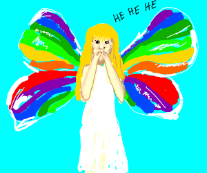 girl with rainbow wings chuckling