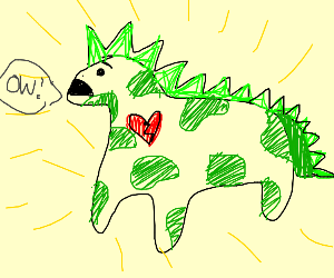 Obese Dinosaw having a heart atack