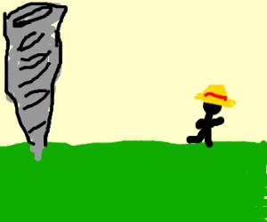 farmer running away from a tornado