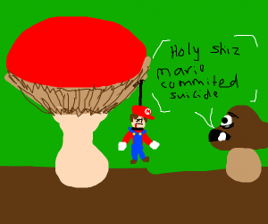 Mario hanging under mushroom