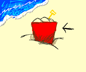Red pail of sand