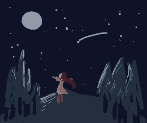 Girl outside at night, wind moving her hair