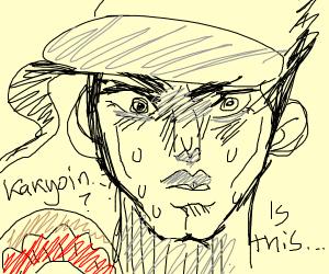 Jotaro asking if the donut is kakyoin