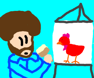 Man paints red chicken