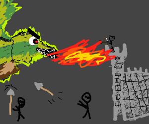 Castle Defends against a dragon