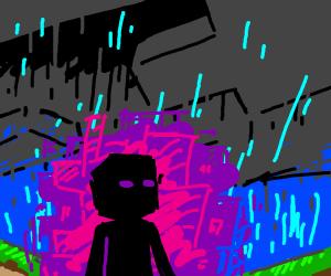 enderman in the rain