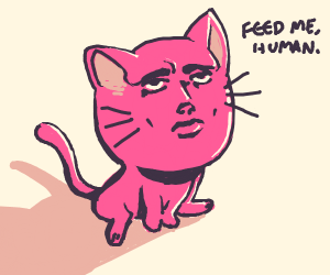 pink cat with realistic human facial features
