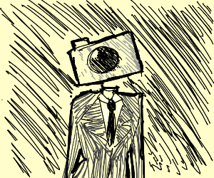 person with a camera object head