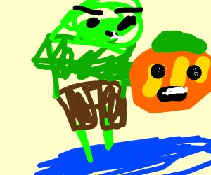 cabbage man on hover board holding a pumpkin