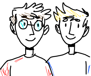 a guy with glasses and a guy without glasses