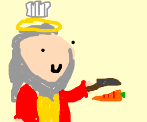 God as a chef cutting up ingredients