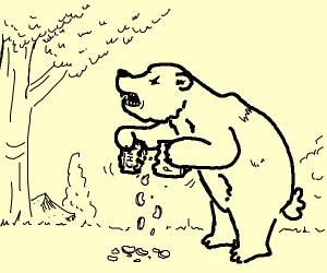 ferocious bear tearing its prey apart