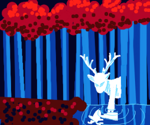 Stag in the forrest, admiring self in river