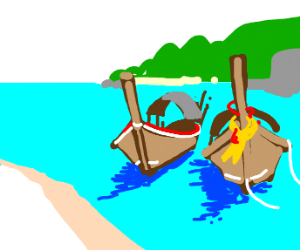 Two boats by an island