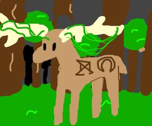Mystical creature (deer?) That has symbols on